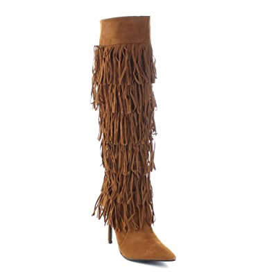 Artena-by-1 Women's 6-Layers Fringe Stiletto Knee High Boots