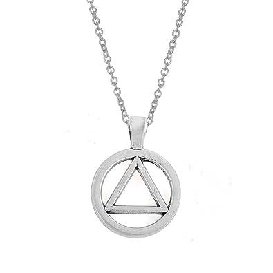 My Shape Zinc Alloy Aa Symbol Alcoholics Anonymous Pendant Necklace