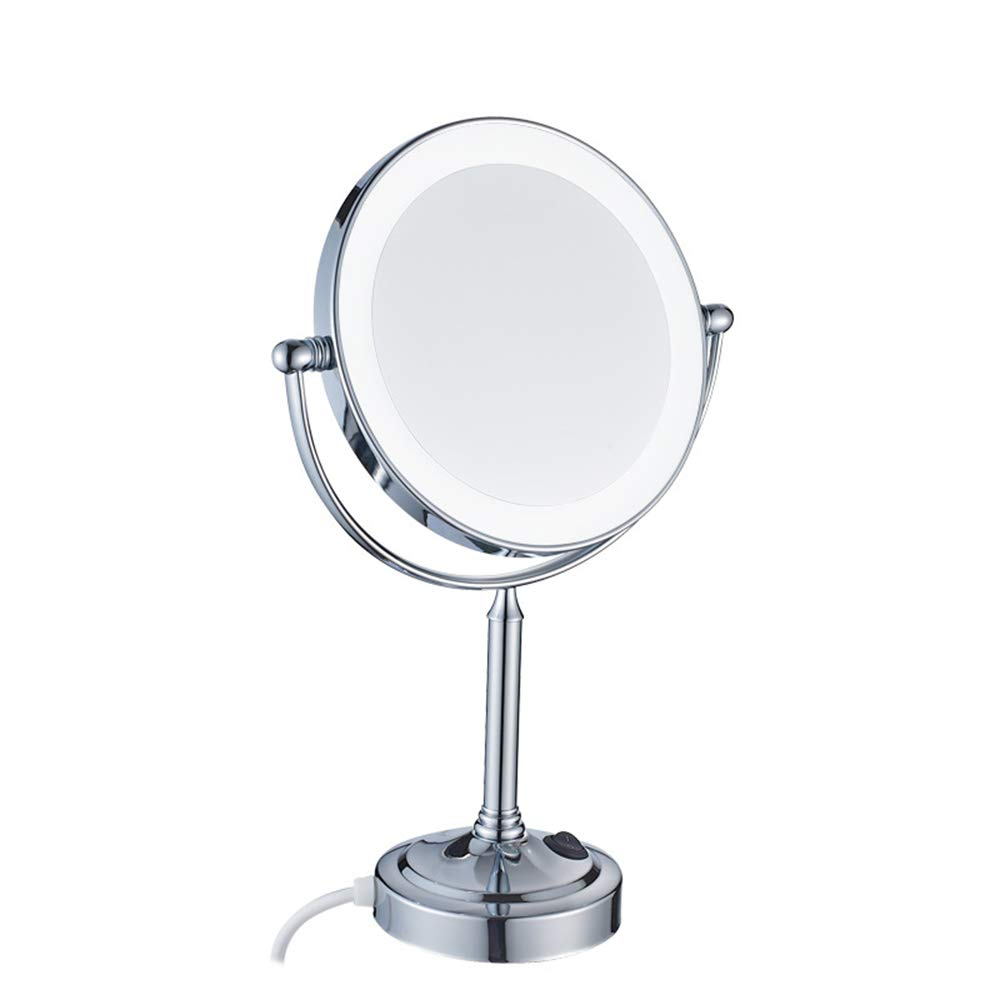 Chrome 3X Desktop Double-Sided Makeup Mirror 360 ° redating Magnification LED Vanity Mirror Bathroom Beauty Mirror 8 inches,Chrome,3X