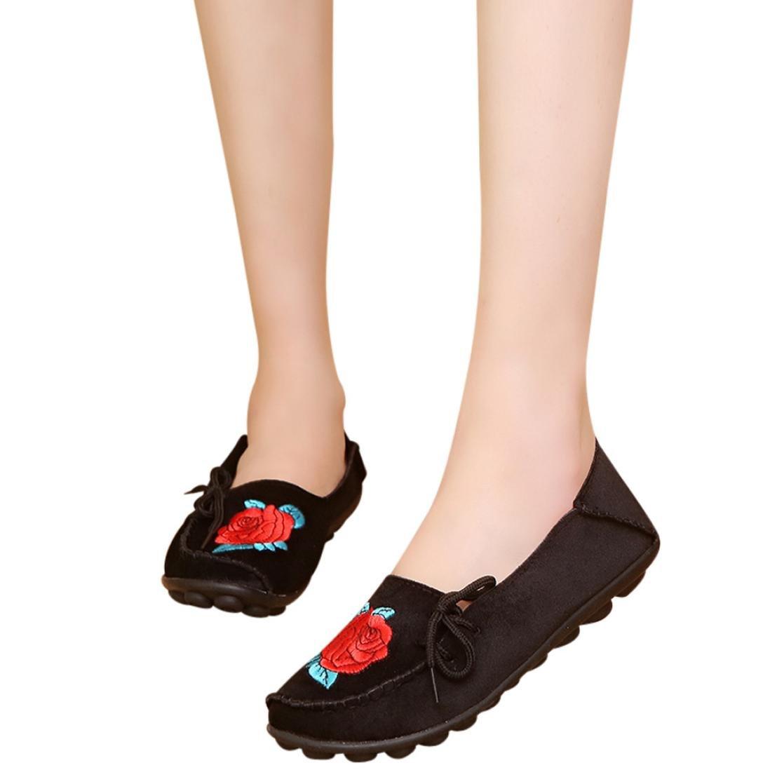 yjydada女性用フラットシューズ刺繍ソフトボトム靴柔らかいスリップオンカジュアルボートシューズ B07CP65YCK 37|ブラック ブラック 37