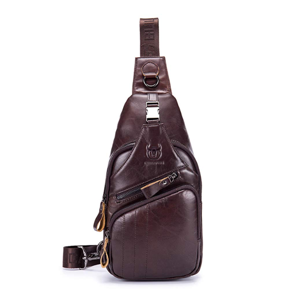Color : Brown, Size : M Shengjuanfeng Mens Crossbody Leather Casual Sports Chest
