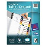 Avery Ready Index Customizable Table of Contents Plastic Dividers, 12-Tab, Letter
