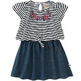 Lucky Brand Girl's Striped Tie Top, Denim Skirt Dress (6, Stripe/Denim)