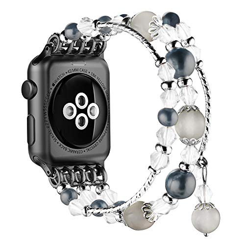 Simpeak Replacement iWatch Band Women Girl Fashion Beaded Elastic Bracelet Band Strap for 42mm 44mm Apple Watch Series 4 2018, Series 3, Series 2, Series 1, Black