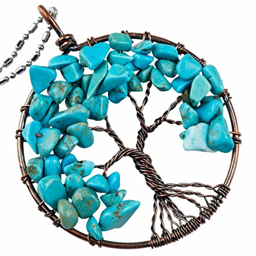 Satin Copper Classic Crystal - TUMBEELLUWA Tree of Life Pendant Necklace Handmade Gemstone Chakra Jewelry for Women, Blue Howlite Turquoise(Copper Plated)