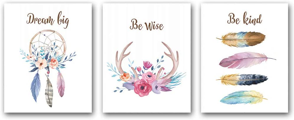 "3 Set,Girls Boho Tribal Art Print,Dreamcatcher Feathers Flowers With Inspirational Quote Wall Poster Picture, Nordic Dream Catcher Pictures for Living Room Bedroom Home Decor,(Unframed,8""X10"")"