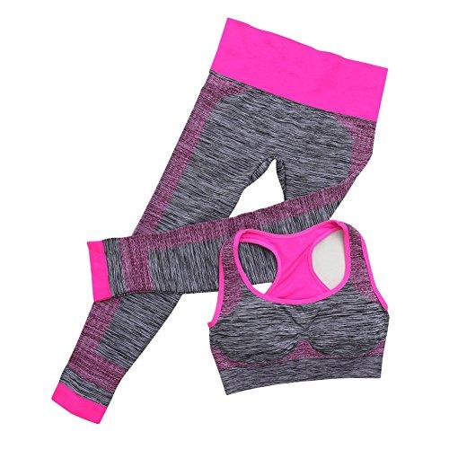 EFINNY Women's 2 Piece Fitness Sports Set Yoga Workout Seamless Sports Bra+Pants Leggings Set