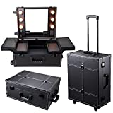 Triprel Inc Professional Rolling Studio Makeup Artist Cosmetic Case w/ Light Mirror Train Table - Black