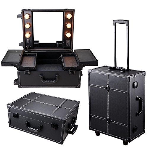 Triprel Inc Professional Rolling Studio Makeup Artist Cosmetic Case w/ Light Mirror Train Table - Black by Triprel Inc