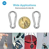 10 PCS Stainless Steel Carabiner Spring-Snap Hook - Lotsun Heavy Duty Carabiner Clips for Keys Swing Set Camping Fishing Hiking Traveling, M4 1.57 Inch