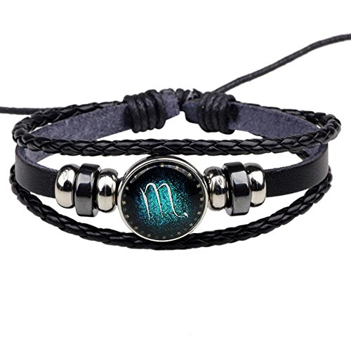 Jauxin Hand Woven Leather Retro Twelve Constellation Bracelet (Hand Woven Leather)