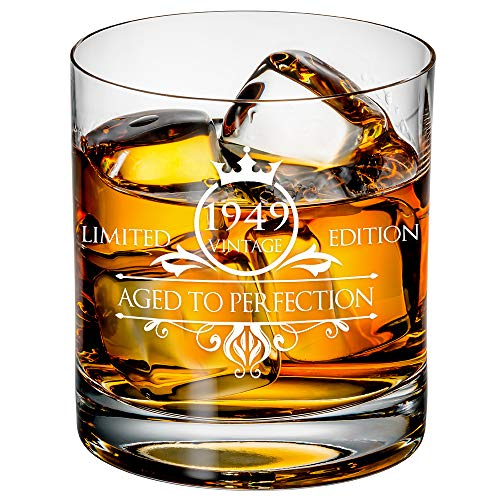 1949 70th Birthday Whiskey Glass for Men and Women - Vintage Funny Anniversary Gift Idea for Him, Her, Husband, Wife – 70 Year Old Gifts for Mom, Dad - Party Favors, Decorations - 11 oz -