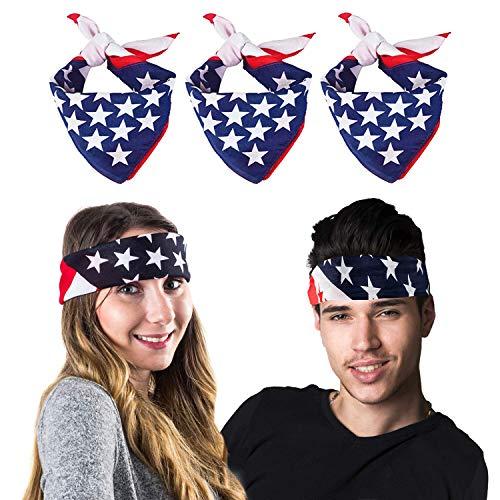 3pcs American Flag Bandana Headband USA Bandana USA Apparel USA Clothing Bandana Patriotic Accessories 22inch Paisley Print Head Wrap Scarf Wristband Handkerchiefs -