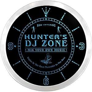 ncqh1130-b Hunter DJ zona música de tocadiscos Bar cerveza LED neón Sign reloj de pared