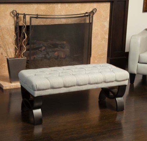 Living Room Furniture Tufted Fabric Ottoman Bench w/ Crossed Legs Upholstered with mixed brown tufted fabric (Uk Wicker Seat Cushions)