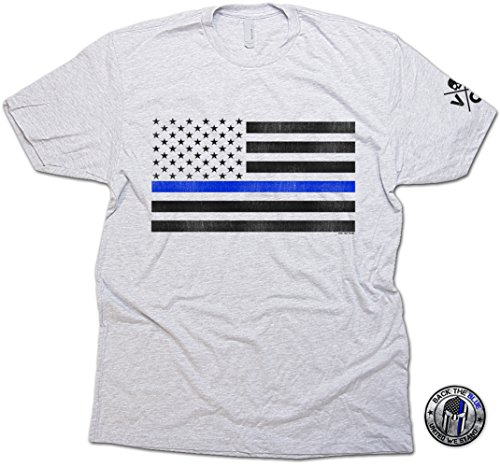 Thin Blue Line Flag Distressed T-shirt & Sticker Men's Support Police Ash (Police Novelty T-shirts)