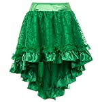 Charmian Women's Steampunk Retro Gothic Vintage Satin High Low Skirt with Zipper 10