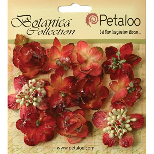 PETALOO Botanica 1.25-Inch Sugared Blooms, Mini, Burgundy, 11-Pack