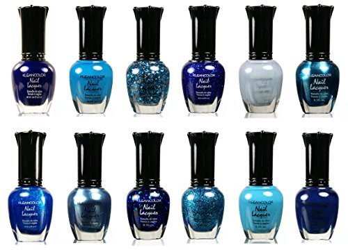 Kleancolor Nail Lacquer Collection - Awesome Assorted Blue Full 12pc Set