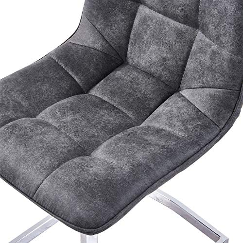 6X Grey Dining Chairs Microfiber Fabric Sofa Cushion Seat with Sturdy Steel Legs Protector Kitchen Table Side Chair, Chrome Base