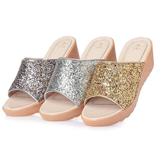 Zapatos Aire cuña la Mujeres de 42 de tamaño al Colorful Sandalias talón del Las DANDANJIE 35 Zapatillas de Confort Verano caseros Zapatillas Libre qZz4Rc