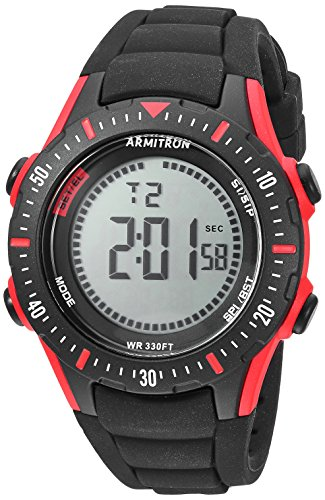 - Armitron Sport Men's 40/8426RBK Red Accented Digital Chronograph Black Silicone Strap Watch