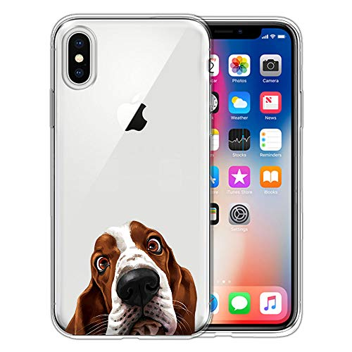 FINCIBO Case Compatible with Apple iPhone X XS 5.8 inch, Clear Transparent TPU Silicone Protector Case Cover Soft Gel Skin for iPhone X XS - Basset Hound Dog