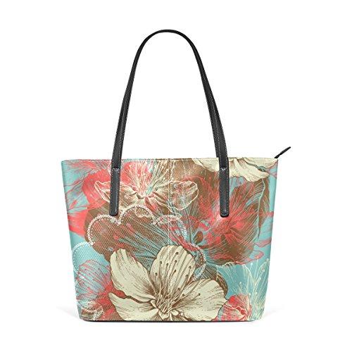 Floreale Multicolore Medio Pelle Fiori Mano E Coosun Tote Borse Di Per Donne Le Tracolla Pu A Disegno Apple In Borsa Bag AfqWHPRwt