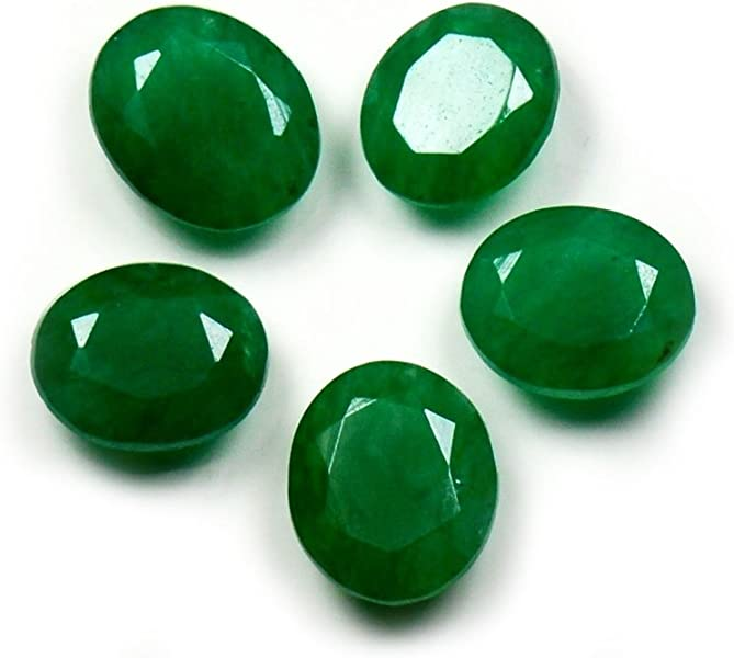 Real Indian Emerald Loose Gemstone Lot Total 25 Carat 5 Pieces Oval Shape Healing Birthstone at Wholesale