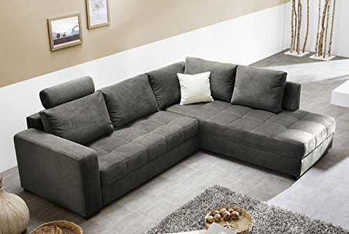 Polsterecke Aurum Mikrofaser Grau 267x221cm Bettfunktion Sofa Couch