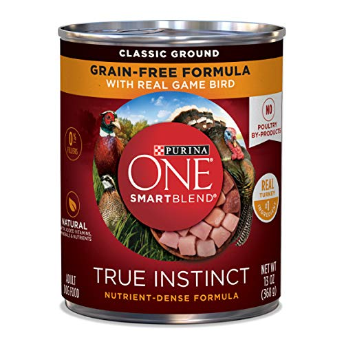 Purina ONE Grain Free, Natural Pate Wet Dog Food; SmartBlend True Instinct With Real Gamebird - (12) 13 oz. Cans