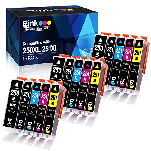 Canon Compatible Inkjet Cartridge - E-Z Ink (TM) Compatible Ink Cartridge Replacement for Canon PGI-250XL PGI 250 XL CLI-251XL CLI 251 XL to use with PIXMA MX922 MG5520 (3 Large Black, 3 Cyan, 3 Magenta, 3 Yellow, 3 Small Black) 15 pack