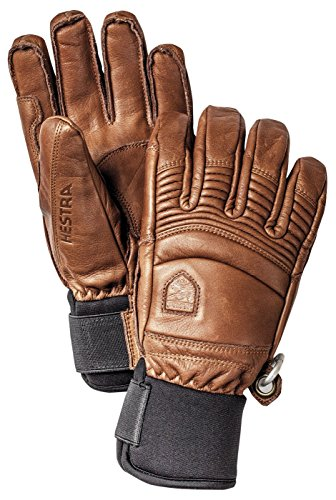 Hestra Mens Ski Gloves: Fall Line Winter Cold Weather Leather Gloves, Brown, 9
