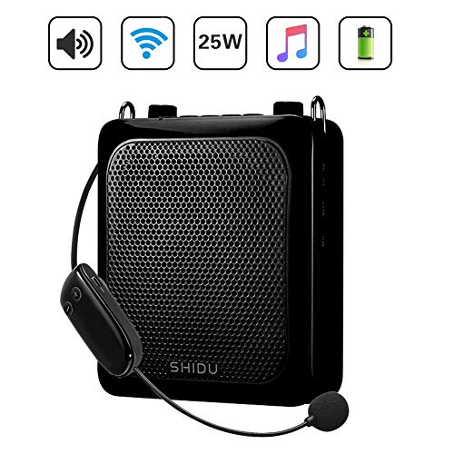 (Voice Amplifier Wireless Mic Headset, 25W Rechargeable Portable Microphone and Speaker Powerful Bluetooth Loudspeaker for Presentations, Teachers, Elderly, Promotion and more Outdoor/Indoor activities)