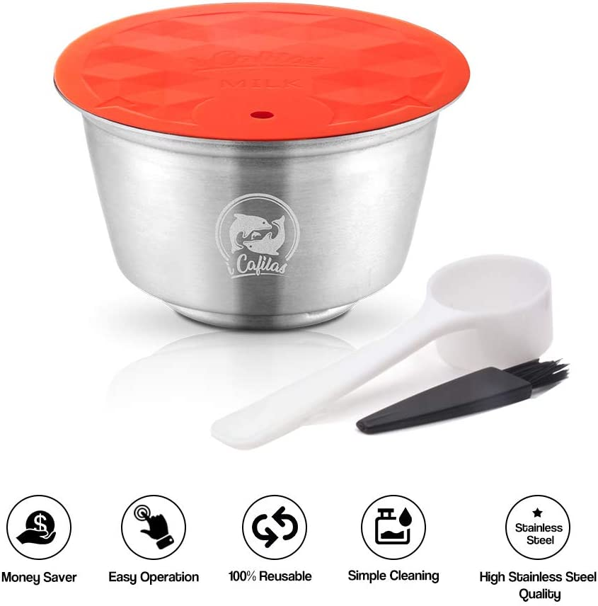 Blusea Reusable Milk Capsule, Stainless Steel Refillable Milk Foam Pod Compatible mit Dolce Gusto