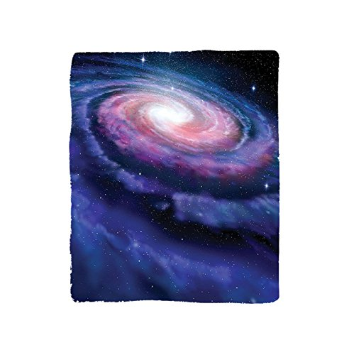 VROSELV Custom Blanket Outer Space Spiral Cosmic Energy with Dark Nebula Cloud Burst Solar Universe Image Bedroom Living Room Dorm Blue Purple by VROSELV