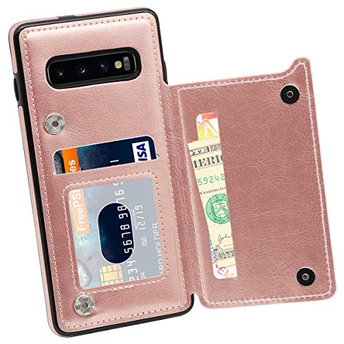 Galaxy S10 Wallet Case, MMHUO Premium PU Leather Galaxy S10 Case with Credit Card Holder Double Magnetic Buttons Flip Shockproof Protective Cover for Samsung Galaxy S10 6.1