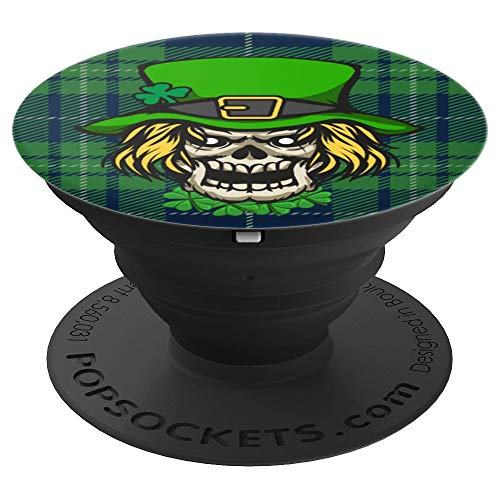 St Patrick's Day Scary Leprechaun Skull - PopSockets Grip and Stand for Phones and Tablets]()
