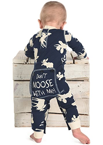 Lazyone Infant Flapjack Onesies  6 Month  Blue Classic Moose