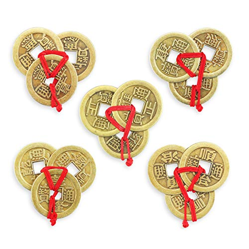 PRALB 20 Sets Chinese Fortune Coins, Chinese Coins Lucky Coins Feng Shui Ching Coins Traditional Coins with Red String for Wealth and Success (5 Styles)