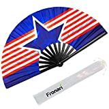 Fronari Large Star Hand Fan - American Flag Chinese Japanese Folding Handheld Accessories for Rave, Dance, Party, Festival, Performance, Home Decor - Tai Chi Fan Womens Fan with Case - EDM Fan