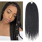 7Packs 18Inch Box Braids Crochet Braids Mambo Twist Braiding Hair 22roots Synthetic Kanekalon Jumpo Box Braids Brading Hair Extensions (18inch, 1B)