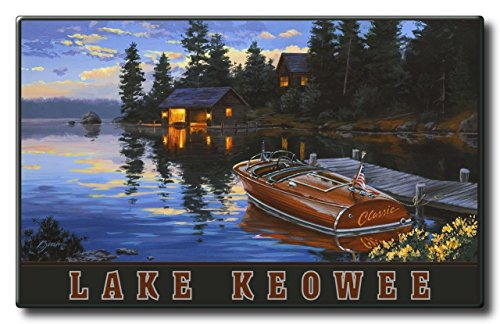 Lake Keowee South Carolina Criscraft Boat Dock Aluminum HD Metal Wall Art by Artist Dave Bartholet (22.5 x 36 inch) Art Print for Bedroom, Living Room, Kitchen, Family and Dorm - Francisco San Mall South