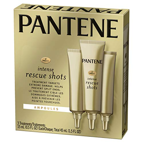 Pantene Rescue Shots Hair Ampoules Treatment, Pro-V Intensive Repair of Damaged Hair, 0.5 fl oz, Triple Pack (Best Treatment For Dry Hair Ends)