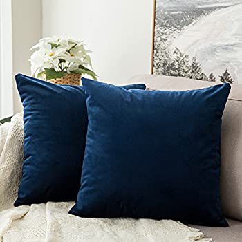MIULEE Pack of 2 Velvet Soft Soild Decorative Square Throw Pillow Covers Set Cushion Case for Sofa Bedroom Car 16 x 16 Inch 40 x 40 cm Dark Blue