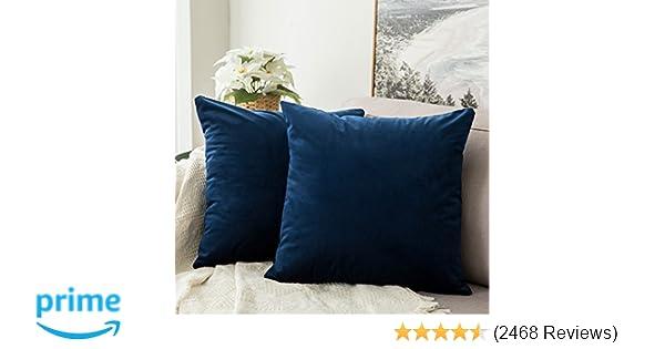 ba6b04b131b Amazon.com: MIULEE Pack of 2, Velvet Soft Soild Decorative Square Throw Pillow  Covers Set Cushion Case for Sofa Bedroom Car 18 x 18 Inch 45 x 45 cm: Home  & ...