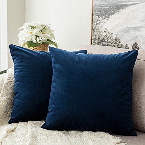 (MIULEE Pack of 2, Velvet Soft Soild Decorative Square Throw Pillow Covers Set Cushion Case for Sofa Bedroom Car 18 x 18 Inch 45 x 45 cm)