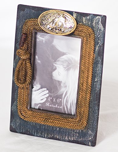 Rustic Western Equestrian Themed Cowboy Picture Frame - Cowboy Jeans, Lasso and Horse Head Belt Buckle - Jeans Lasso and Buckle Frame 4