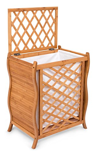 BirdRock Home Wave Bamboo Laundry Hamper with Lid and Cloth Liner | Easily Transport Laundry Basket | Trellis Bamboo Laundry Basket | Spa Natural Hamper (Walmart Wicker Hampers)
