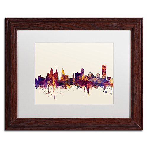 Buffalo New York Skyline by Michael Tompsett, White